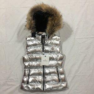 Moncler Women Silver Fox Fur Hoodie Vest